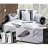 100 % Cotton Diwan Set 180 TC (8 Piece Deewan Set- (1 Single Bedsheet <60 X 90 Inch>, 5 Cushion <16 X 16 Inch> 2 Bolcor-16 X 30 Inch)