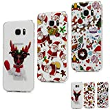 MAXFE.CO for Samsung S7 Edge Case Clear Christmas Series [3 Pack] Ultra Thin Slim Fit Shockproof Silicone Rubber Cases for Samsung Galaxy S7 Edge, Christmas Decoration & Santa Claus & Christmas Dog image