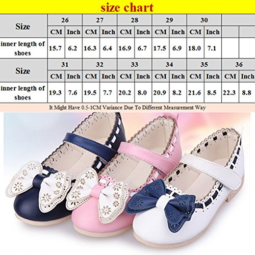 Zhhlinyuan Fashion Kids Princess Shoes Cute Girls Sweet Bowknot Party Casual Shoes pink