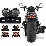 40W 40 LED feu arrière de moto feux de freinage intégré feux de clignotant support de plaque d'immatriculation(noir)