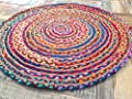Fair Trade 120cm Large Round Braided Rag Rug Cotton Jute Multi Coloured Chindi Mat
