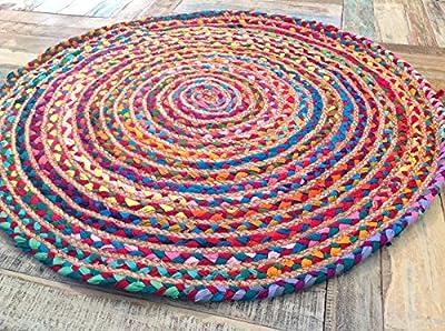 Fair Trade 120cm Large Round Braided Rag Rug Cotton Jute Multi Coloured Chindi Mat