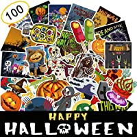 ANCOOLE Halloween Stickers 100 Pieces Assorted Halloween Scrapbook Stickers Self Adhesive Shapes for Halloween Party Decoration