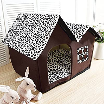 "Large Soft Double Roof Pet Play House,Portable Warm Comfortable Velvet Polyester Dog Cats Room Sleep Bed,19.7""-14.2""-15.7"" by Hongyans"