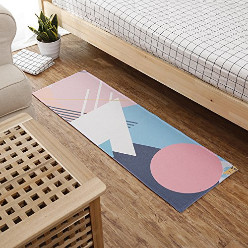 WANG-shunlida Rutschfeste Boden Scheibe, samt Teppich gedruckt, Nordic Schlafzimmer Badezimmer Tür, super saugfähig Küche nähen Foot Pad, C, 50 x 120 cm - Gedruckt Badezimmer-teppiche