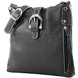modamoda de - ital Umhänge-/Schultertasche aus Leder T04, Farbe:Schwarz