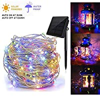 ‏‪Solar String Lights, Copper Wire Light Twinkle Starry Lighting Decorative Lamp Waterproof Fairy Rope Light for Christmas Festival Home Holiday Garden Patio Indoor Outdoor(50 LEDs, Multi Color)‬‏