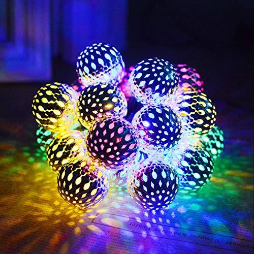 YS&VV 30 LED Solar Licht 5M Solarlicht Schmiedeeisen Metallkugel Marokkanische Solarleuchte Multi Farbball Solar Lampe für IP65 Wasserdichte Indoor und Außen Urlaub Weihnachtsbaum Halloween Dekoration - Schmiedeeisen Ball