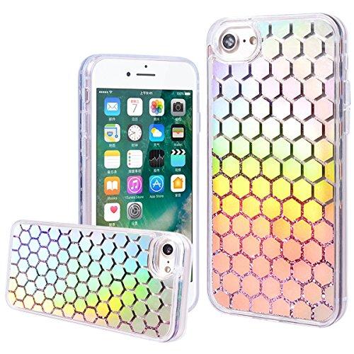 """WE LOVE CASE iPhone 7 / iPhone 8 Hülle Wassermelone Glitzern Treibsand Transparent Flüssig Kristall klar Quicksand Diamant Liquid Liebe Sterne iPhone 7 / iPhone 8 4,7"""" Hülle Grün Schutzhülle Handyhüll hexagon"""