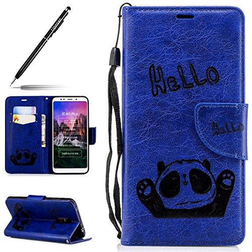 Kompatibel mit Handyhülle Xiaomi Redmi Note 5 Leder Hülle Retro Panda Muster Handytasche Leder Tasche Flip Case Cover Klapphülle Bookstyle mit Standfunktion Magnetverschluss Kartenfach,Blau