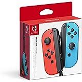 Nintendo Switch Par vänster neonblå och höger neonröda Joy-Con-kontroller
