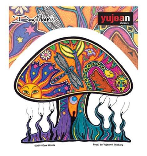 Aufkleber Dan Morris Mushroom Pilz Erde Frieden Tiere Sonne ca. 12x10 cm Auto Vinyl-aufkleber Bunt