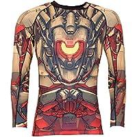 Tatami Rashguard Mech Warrior–Rash Guard BJJ MMA Grappling Funktions Camiseta Top de Compresión para Hombre, Color Negro, Tamaño Medium