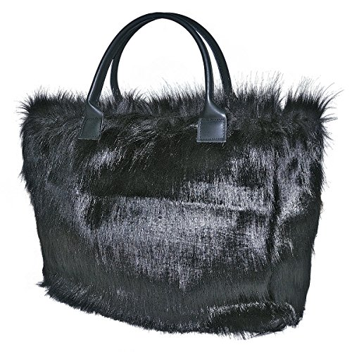 Borderline - 100% made in italy - borsa da donna in pelliccia ecologica - zoe (nero)