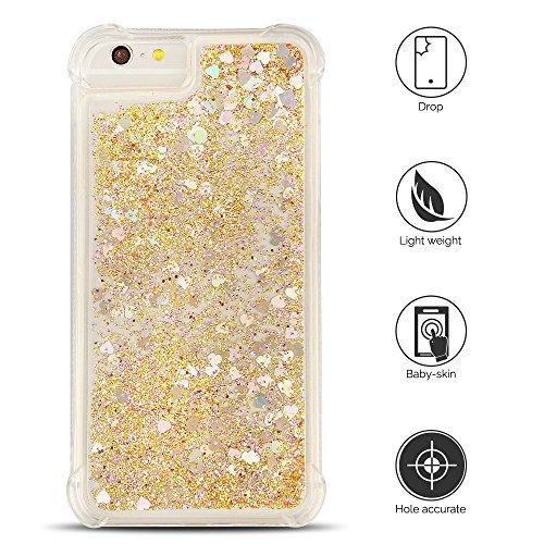 Cover iPhone 6 plus Custodia iPhone 6s plus Silicone Liquido Anfire Trasparente Flessibile Plastica TPU Case per Apple iPhone 6 plus/6s plus (4.7 Pollici) Sabbie Mobili Shell 3D Bling Glitter Floating Giallo