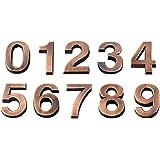 Vosarea 3D-huisnummer 0-9 sticker deurnummer kamernummer voor huis hotel deur adresteken 5 cm 10 stuks (brons)