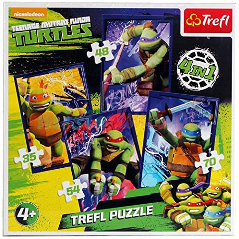 Trefl - 34266 - Puzzle 4 en 1 - Teenage Mutant Ninja Turtles