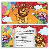 (10 x) Einladungskarten Kindergeburtstag Zirkus Clown Geburtstag Einladungen