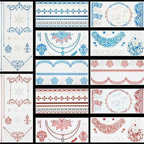 alallti 12pcs Rosso Fiocco Di Neve Albero di Natale colore blu fiori flash temporaneo metallico Tatuaggi Adesivo Impermeabile