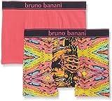 bruno banani Herren Shorts 2er Pack Painter, 2er Pack, Rosa Gelb/Türkis Print// Pink 2296, Large