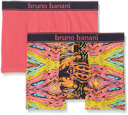 Bruno Banani Herren Short 2er Pack Painter, 2er Pack, Rosa (Pink/Gelb/Türkis Print// Pink 2296), Small