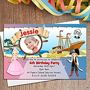 10 Motif Pirate et princesse PHOTO N118 cartes d'invitation