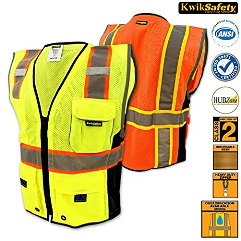 KwikSafety Deluxe Safari Zip Up Hi Vis Vest | Breathable Mesh Fabric Waistcoat Multi-Pockets Reflective Gilet | Cycling Fishing Gardening Motorbike Security Construction | EN471 Yellow