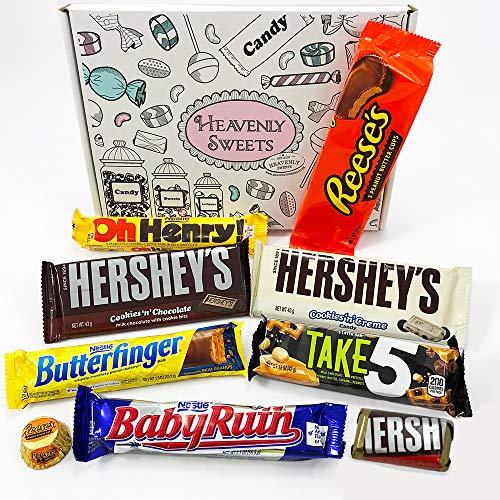 Kleiner Amerikanische Schokolade Geschenkkorb | Auswahl beinhaltet Reeses, Hersheys, Butterfinger, Baby Ruth | 9 Produkte in einer tollen retro Geschenkebox | American Candy