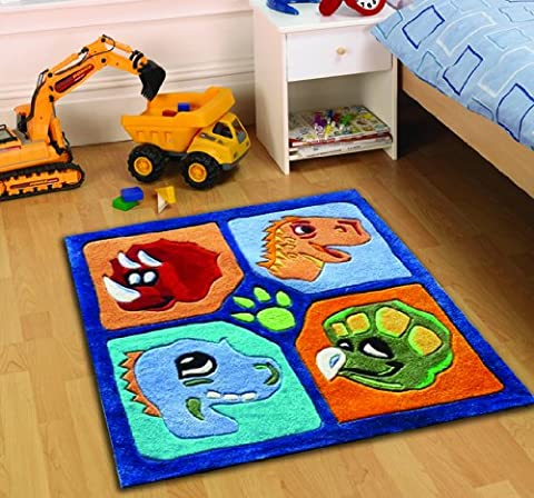 Multi Color Rug Kiddy Play Dino Heads Cool Design in Rectangular Polyester Pile 90cm x 90cm