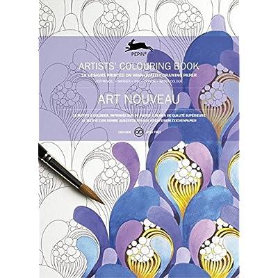 Art nouveau : 16 motifs à colorier, imprimés sur du papier à dessin de qualité supérieure