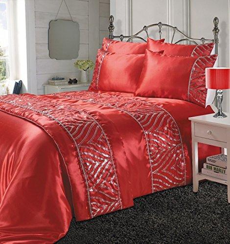 LNB-schimmernden Glanz Rot 100% Polyester Fancy/Signature Bettdecke Bettwäsche Set/Bettbezug (König) (König Bettwäsche-set Rot)