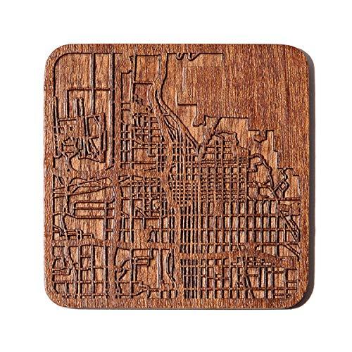 Salt Lake City Map Untersetzer von O3 Design Studio, 1 Stück, Sapeli-Holz-Untersetzer mit Stadtkarte, mehrere Stadt optional, handgefertigt