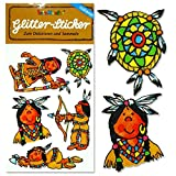 * Indianer * Glitter-Sticker / Glitzer-Sticker von Lutz Mauder // Sticker Glitter Tattoo Glittersticker Kinder Kindergeburtstag Geburtstag Mitgebsel Geschenk Basteln Aufkleber Amerika