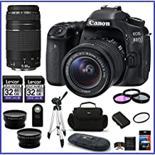 Canon EOS 80D DSLR Camera With 18-55mm Lens + Canon EF 75-300mm F/4-5.6 III Lens + 32GB Memory Cards (2X) + 58mm Telephoto & Wide Angle Lenses + Spare Battery And More