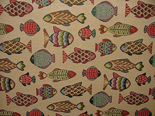 Pandoras 1m Tier Tapisserie Fisch Designer Stoff ideal für Polsterung Vorhänge Kissen Überwürfe (Chenille-gobelin-polster)