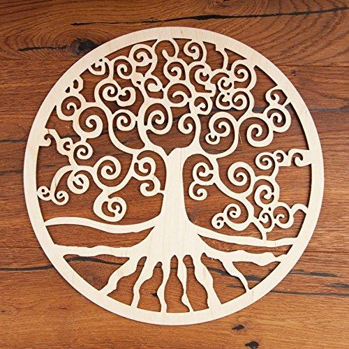 Baum des Lebens Holz Wand Dekoration Ø 30 cm 1 St   Wandschmuck Lebensbaum Yggrasil Tree of Life Symbol Birkenholz   Esoterik Geschenke Deko günstig kaufen