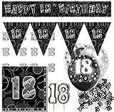Dekorations Set zum 18. Geburtstag Party Set in Schwarz Silber