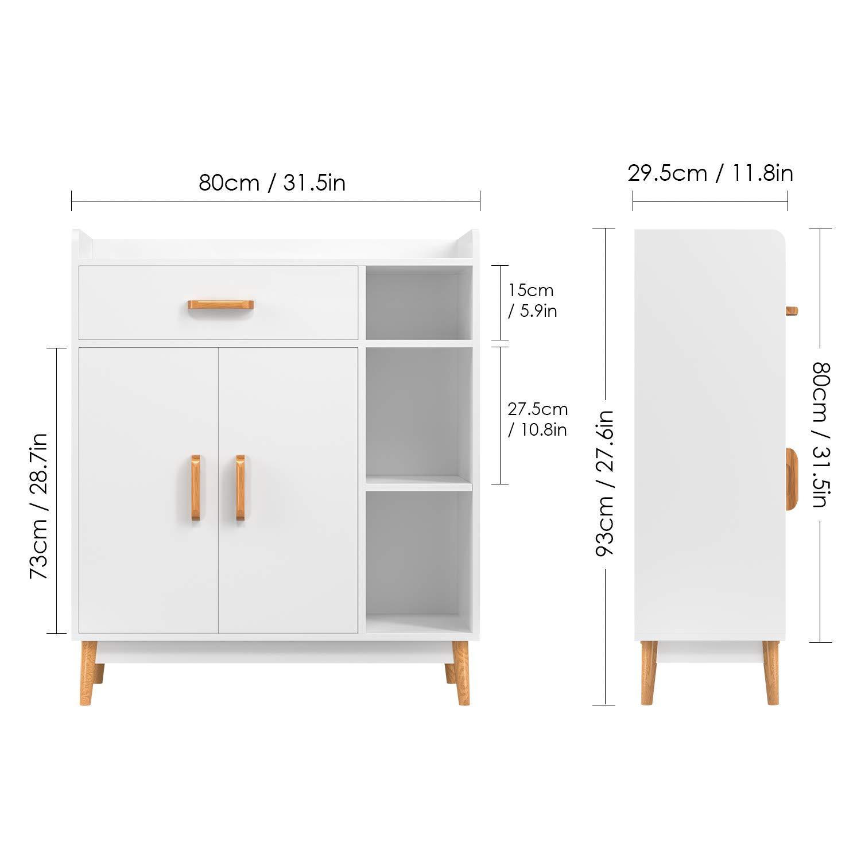Homfa armadietto Legno con Ante Mobili Soggiorno 3 Ripiani Cassettiere da  Ufficio e casa con 4 Gambe 93 ×80 × 29.5 cm