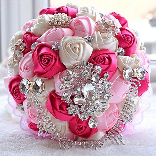 Hochzeits Blumen Blumenstrauß Dekoration Handgemachte Rosen Rhinestone Perle, Brautblumenstrauß, Künstliche Seidenblume Mit Spitze,C