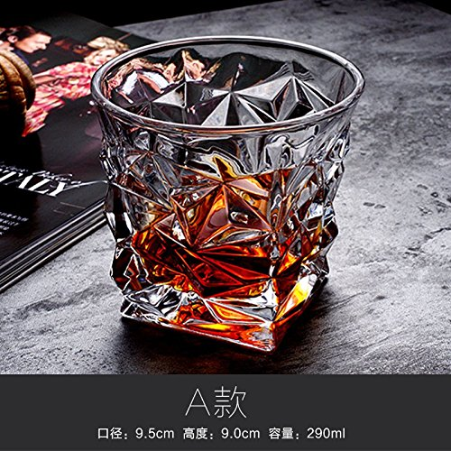 ZBZQ-Bleifreies Kristallglas, Whisky Schale, ausländischen Wein Schale, Glas, Milch, Wasser, Tasse, Tasse Tee, Bier Schale, rechteckig Schale, ein Whiskey (Milch Kostüme Glas)