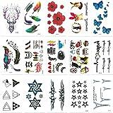 Chileeany Lot de 15 Tatouages Temporaire Tattoos Étanche 10.5 x 6.0 cm,motifs variés