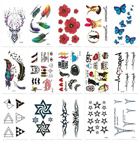 Chileeany-Lot-de-15-Tatouages-Temporaire-Tattoos-tanche-105-x-60-cmmotifs-varis