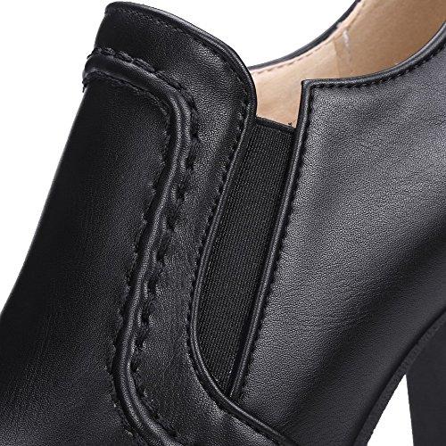 AllhqFashion Damen Weiches Material Rund Zehe Hoher Absatz Ziehen Auf Rein Pumps Schuhe Schwarz