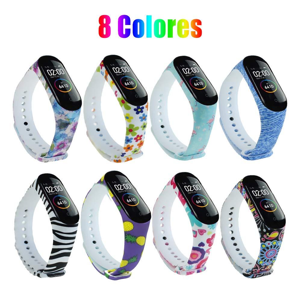 G-Color Correa Xiaomi mi band 3/4, 8 Colores, Correa de Silicona Blando, Impermeable y Ajustable, Pulsera/Banda… 1