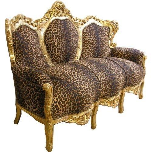 Barock Sofa Leopard/Gold - Möbel Antik Stil Barock Tiger Leo Couch