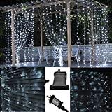 JnDee™ Safe Voltage Fully Weatherproof Curtain Lights Christmas Brilliant Cool White 300 LED 3m*3m 30 Drops Plus a Massive 10M Lead Cable, 8 Modes.