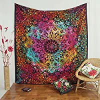 Handicrunch Indian Wall Hanging Tapestry Mandala Star Cotton Full Size Black Bedspread Throw 92 X 82 Inches from Handicrunch