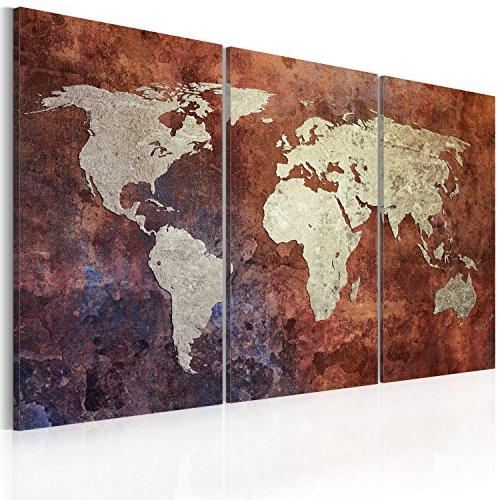 Murando - quadro 120x80 cm - 3 parti - quadro su tela fliselina - stampa in qualita fotografica - mappa del mondo 020113-35