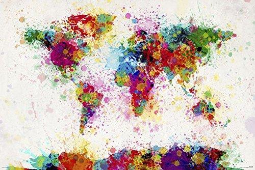 Michael Tompsett Weltkarte - World map paint drop Poster - Tompsett Michael Weltkarte