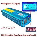 LuyuanIPower, inverter a onda sinusoidale pura da 2500W/5000W (potenza di picco), con avviamento graduale da 12V CC a 230V CA, per automobili, camper e imbarcazioni, con display LCD